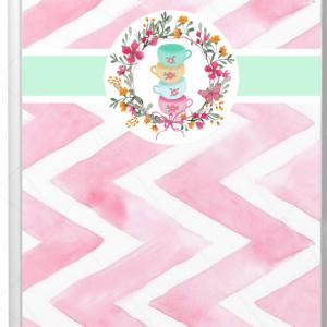 libreta rosa con verde
